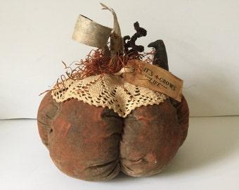 Handmade Primitive Pumpkin Decor...Fabric Grunged Halloween Decoration..Crow and Pumpkin Table Decor...