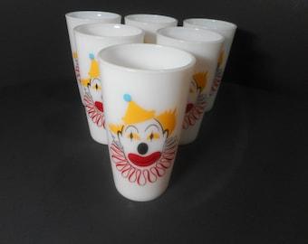Vintage Hazel Atlas Clown Glases...Milk Glass Tumblers...Circus Clown Party Glasses..Mid Century Entertaining..