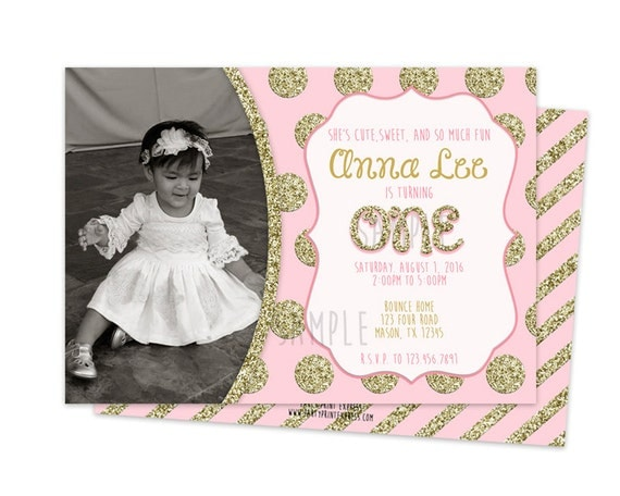 First Birthday Invitations Girl Gangcraftnet - 1st birthday invitations gold and pink