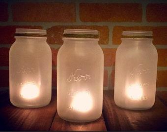 Rustic Wedding Decor Frosted Mason Jars- Set of 3