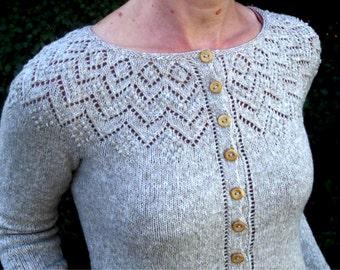 Lace Yoke Knitting Pattern : Ladies Lace Yoke Top Knitting Pattern Instant Download PDF