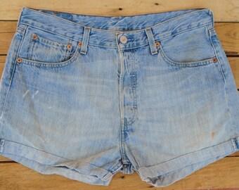 Vintage 501s, Light Denim Shorts, Pale Denim Shorts, Jean Shorts, High Waisted Shorts, High Waist Levis, Vintage Cut Offs, Vintage Hot Pants