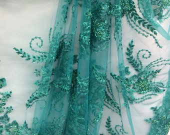 Jade embroider beads and sequence bridal lace fabric bty
