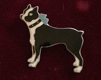 Vintage Sterling & Enamel pin Boston Terrier Dog