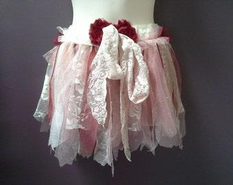 TATTERED TUTU, girls tutu skirt, fairy shabby tutu, cream beige scarlet red tulle lace, dance costume, wedding tutu, size 6 7 8, flower girl