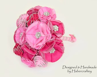 "Beautiful ""Louisa"" Zipper flower & textile keepsake bouquet - handcrafted by Habercraftey"
