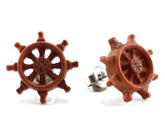 "Hand Carved - ""Wheel"" - Wood Stud Earring - Marina Bay"