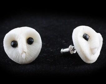 "Hand Carved - ""Barn Owl"" - Bone with Ebony Wood Inlay Stud Earring - Wisdom of Owls"