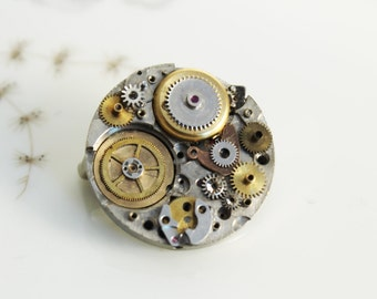 steampunk brooch with old gears , vintage style, unique piece