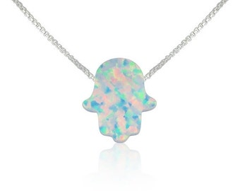 Opal Hamsa Necklace • White Opal on a Solid .925 Sterling Silver Chain • Safe to Get Wet • Everyday Lowest Price Opal Necklace on Etsy