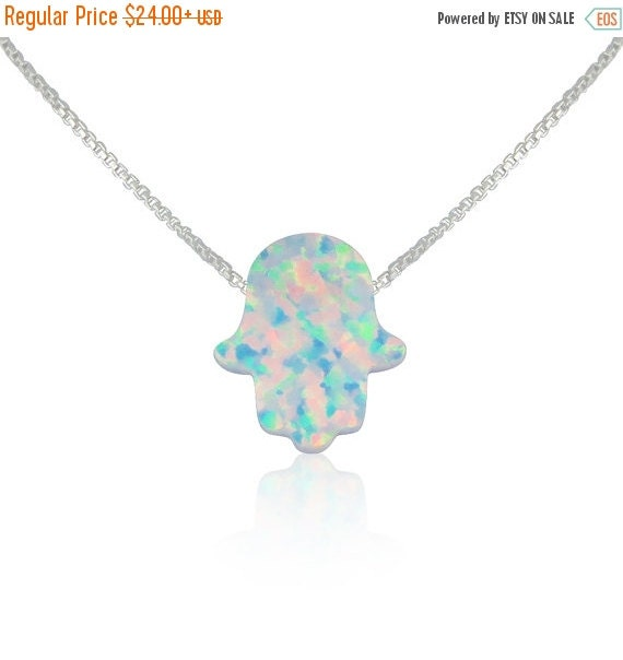 White Opal Hamsa Necklace on a Solid .925 Sterling Silver Chain • Safe to Get Wet • Everyday Lowest Price on Etsy