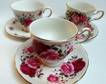 3 vintage Queen Anne teacups collectible china