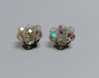 Vintage aurora borealis beads clip earrings