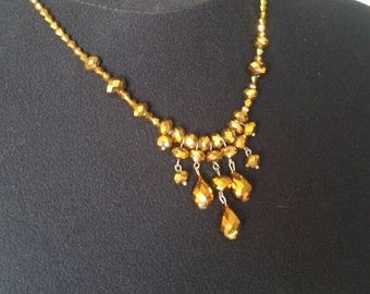 Vintage golden beads necklace
