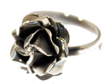Mexican Rose Flower Adjustable Ring .925 Sterling Silver - Rose Adjustable Ring