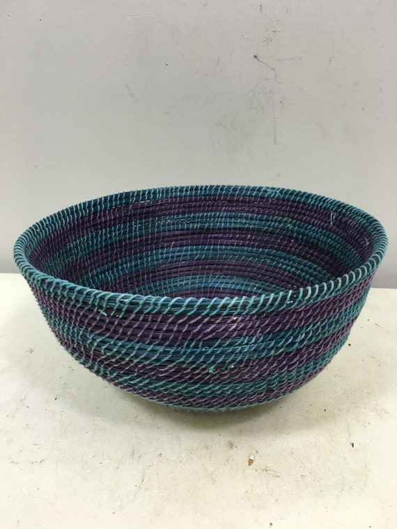 Basket African Lesotho Teal Blue Purple Woven South Africa Handmade Hand Woven Coiled Woman Unique SM23