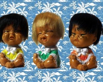 Vintage 1970 gadget 3 emotion dolls made in Korea collectors item