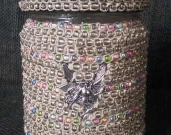 Air Tight, Glass Mason Stash Jar with Hemp, macrame, glass beads, and fairy charm