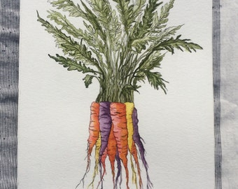 Original Carrot Watercolour Painting
