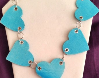 Teal Hearts leather Necklace - Made from recycled materials