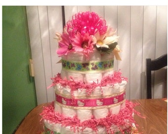 Hello Kitty Diaper Cake 3 Tier