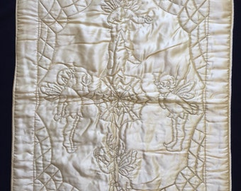 Vintage 1930s Embroidered Satin Baby Quilt Comforter Pram Cover Fairies Spiderweb
