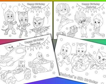 PJ Masks coloring pages, PJ Masks Birthday Party Favor, PDF file