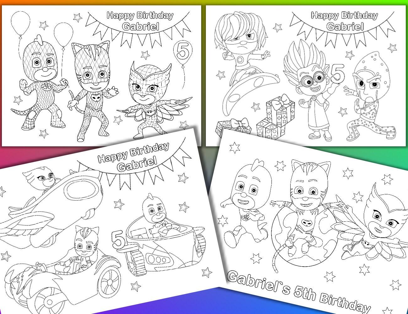 PJ Masks coloring pages PJ Masks Birthday Party Favor PDF