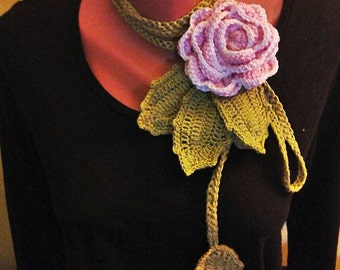 Bohemian, Rose Crochet Necklace, 2 in 1 accesorie, rose belt, Lariat necklace, crochet flower, pink, yellow, red