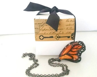 Stunning Realistic Monarch Butterfly Wing Necklace