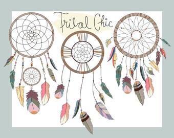Dream Catchers Clip Art - Set of Vector, PNG & JPG Files - Unique, Hand Drawn, Cute Tribal Clipart Digital Download