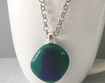 Green glass pendant, blue glass pendant, fused glass pendant, blue pendant, green pendant