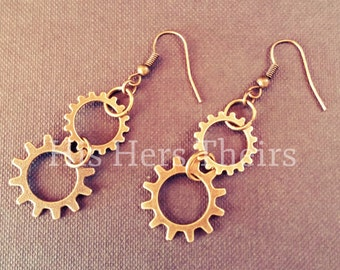 Antique Style Gear Earrings