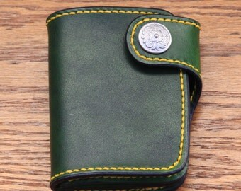 Handmade Leather Wallet - Green leather
