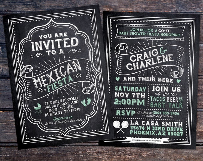 Mexican Fiesta, chalkboard couples co-ed Baby Shower BBQ invitation - babyq - baby is brewing, baby girl shower, fiesta, Mexican