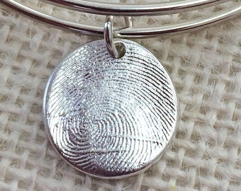 Fingerprint Jewelry .999 Fine Silver Charm with .925 Adjustable Charm Bracelet Personalized Keepsake