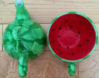 Watermelon Teapot & Cup