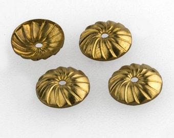 Brass beadcap with Spiral Design. 8mm. Pkg. of 6. b9-0484(e)