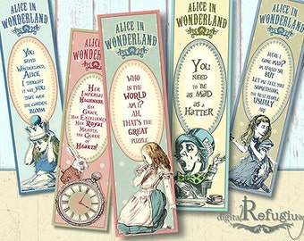 Alice in Wonderland,Bookmarks, Digital Collage Sheet, quotes,  Instant Download, printable Bookmarks, DIY