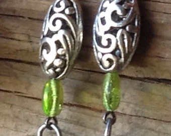 Silver Green and Turquoise Earrings