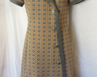 Vintage 1960's Mod Coat Dress Mustard and Gray Geometric Cirlces Side Button up misses sz small