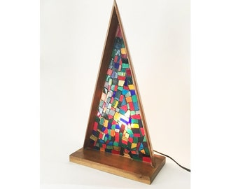 Vintage 1960's triangular stained glass mosaic lighting display