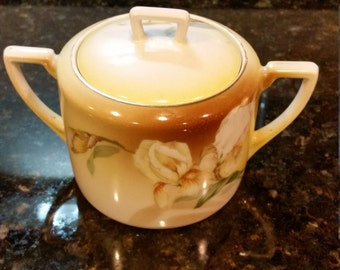 Hand Painted China Yellow Iris Lidded Sugar with Handles an Gold Trim ~RS Reinhold Schlegelmilch, Germany