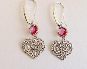 FILIGREE HEART EARRINGS - Silver Filigree Heart - Silver Earrings - Heart Earrings