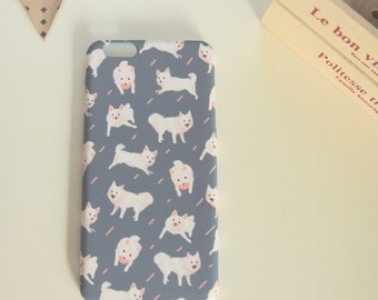 Japanese Spitz Print iPhone Case in Navy Blue