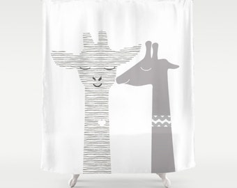 Giraffes Shower Curtain Personalized Animals Bathroom Decor Art Womens Man  Birthday Cabinet Kids Apartment Home Cute