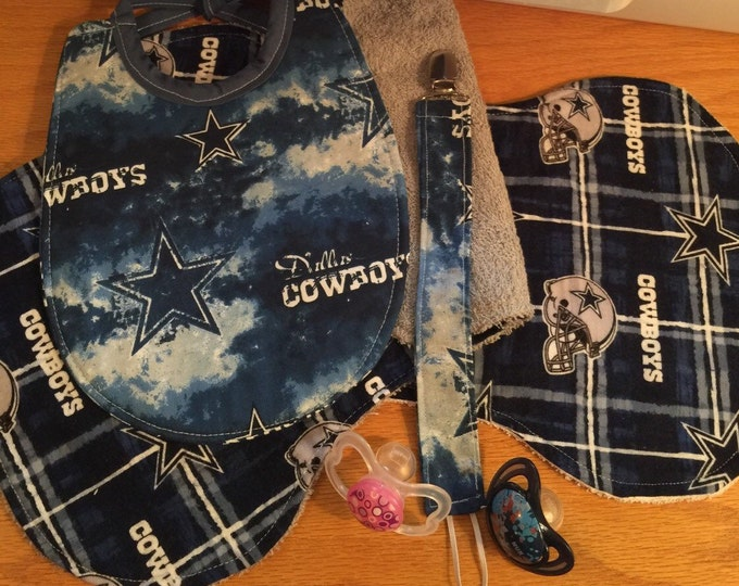 Baby Bib Dallas Cowboys Gift Set , Baby Bib, Burp Cloths and Pacifier Clip