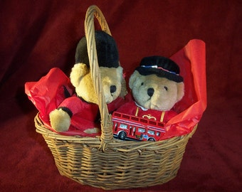 Vintage English Bear Nostalgia Gift Basket with Two Harrods Bears and Matchbox double-decker bus