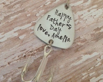 Happy Father's Day Custom Fishing Lure Hand Stamped Happy Father's Day