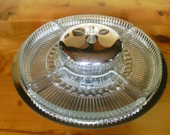 Vintage Chrome Lazy Susan Style Snack Tray With Glass Inserts and Lidded Dip Bowl